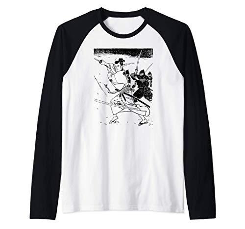 Japanese Samurai Sword Retro Ninja Samurai Battle Camiseta Manga Raglan