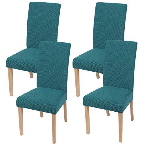 Homaxy Stretch Stuhlhussen Hussen für Stühle Stuhlbezug Waschbar Elastische Moderne Stuhl Esszimmer überzug - Türkis, 4er Set