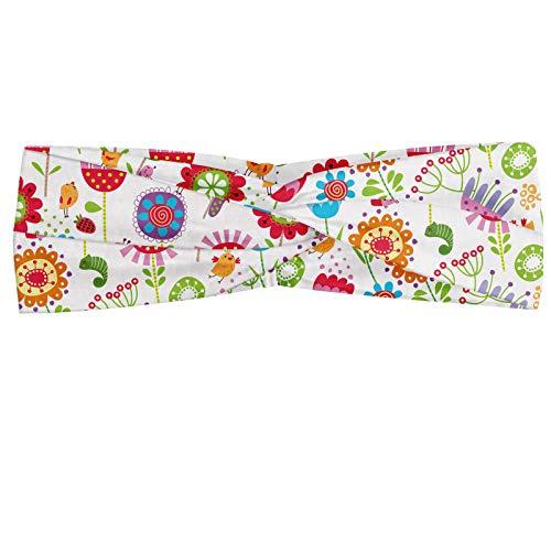 ABAKUHAUS Diadame Flor, Banda Elástica y Suave para Mujer para Deportes y Uso Diario Lúdica Jardín Meadow colorido con las flores florecientes Fresas Aves Animales, Multicolor