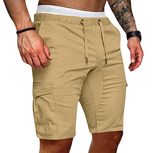 Pantalones Cortos Hombre Deporte de Bolsillo con Cordones Color Sólido Casual Moda Verano para Hombre