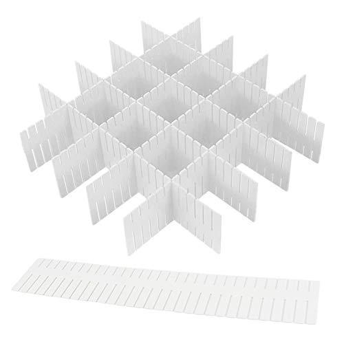 NOBRAND MINGZE 16 Piezas Organizador de Cajones, Rejilla Ajustable Divisor de Cajón Divisores DIY Plástico Separadores de Cajones para Ropa Interior, Sujetador, Calcetines Y Accesorios