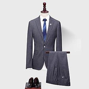 ストライプスーツ 小さいサイズ 大きいサイズスーツ スリムスーツ 1つボタン 細身 メンズ スーツ ビジネススーツ 上下 セットメンズ 長袖 セット フォーマル パンツ (2点セット, 3XL)