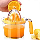 Win Change Lemon Squeezer Hand Manual Lemon Squeezers – Lemon Lime Squeezer, Citrus Lemon Orange Juicer, with Built-in Measuring Cup and Grater, Transparent Orange, 20OZ