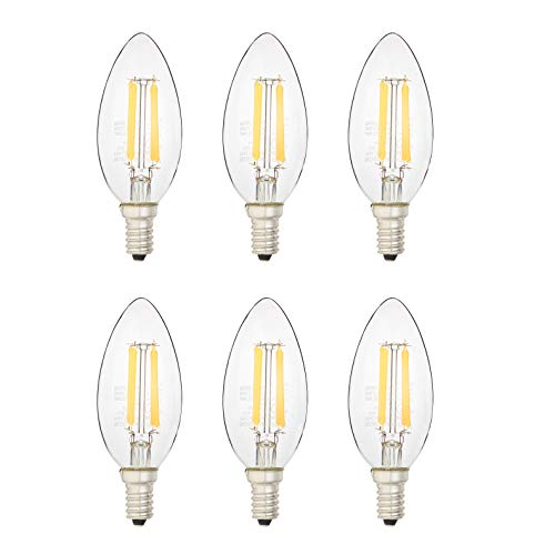 AmazonBasics 40 Watt Equivalent, All Glass, Dimmable - B11 LED Light Bulb, Soft White, 6-Pack