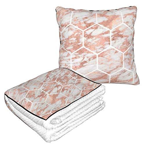 Kissendecke Premium Samt Soft 2 in 1 Decke mit weicher Tasche Rose Gold Marmor Hexagon Honeycomb Kissenbezug für Zuhause Flugzeug Auto Reisen Filme