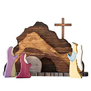 🌄🌅Minimalist design:Wooden Easter nativity Easter Scene by Our woodworking designer – a beautiful home decoration that carries the spirit and message of resurrection. 🌄🌅Sturdy wooden construction:massive wood, satin-smooth surface. A unique Easter de...