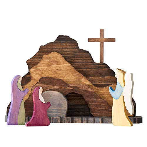 Wanshop Easter Resurrection Scene Set - Wooden Nativity Scene Set,Spring Easter Risen Christ Figurine Decor,Easter Decorations for The Home, Easter Table Ornament for Tabletop (A)