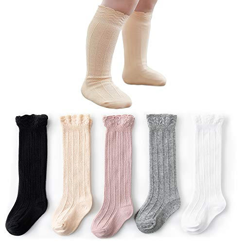 CozyWay Knee High Socks Newborn Infants Toddlers Girls 5 Pack Tube Ruffled Uniform Long Stockings