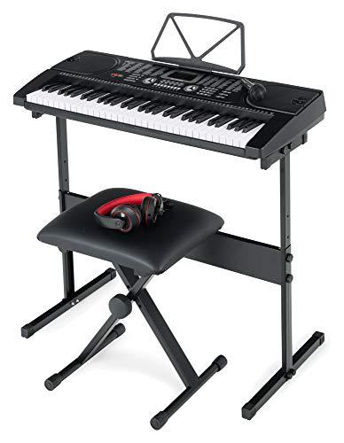 McGrey SK-6100 Keyboard Super Kit - Einsteiger-Instrument mit 61 Tasten - 255 Klänge und Begleitrhythmen - Lernfunktionen - inklusive Keyboardtisch, Hocker, Mikrofon und Kopfhörer - schwarz