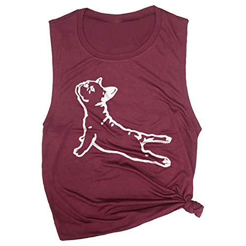 Spunky Pineapple DOGA Frenchie French Bull Dog Funny Yoga Workout Muscle Tee Maroon
