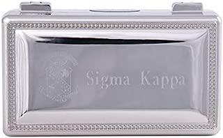 Desert Cactus Sigma Kappa Engraved Pin Box Sorority Greek Decorative Trinket Case Great for Rings, Badges, Jewelry Etc. (Rectangle Pin Box)