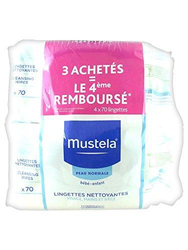 Mustela Lingettes Dermo-Apaisantes Parfumées Lot de 4 x 70 Lingettes