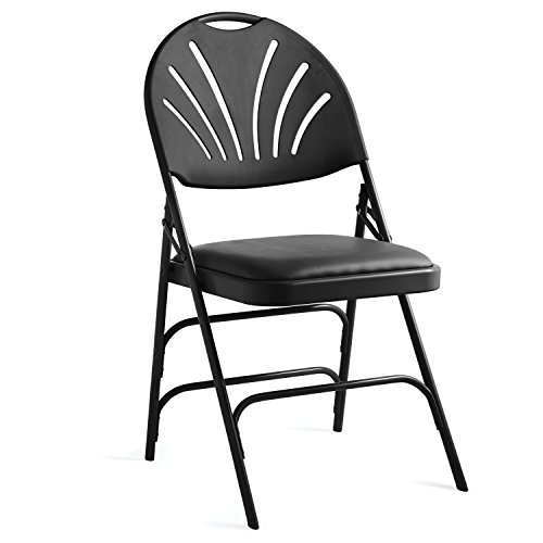 Samsonite XL Series Folding Chair (4-Pack) Black Commercial Grade Fanback Design, Padded Steel & Vinyl Seat