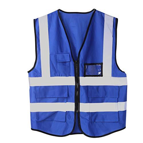 ZOOMY Chaleco de Seguridad con Cremallera Chaqueta Reflectante Chaleco de Seguridad 5 Bolsillos - Azul Oscuro