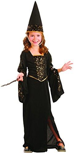 PtitC Costume de sorcière Robe Longue Noire et dorée 9/10 Ans 130/140 Halloween Deguisement Costume