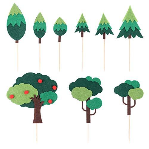 Tomaibaby 9 Piezas de Adornos para Cupcakes de Árbol de Navidad Fieltro...