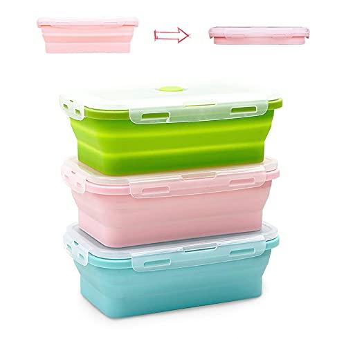 Contenedores de Almacenamiento de Alimentos Plegables de Silicona, 3 Pcs Recipientes de Silicona Plegable,,Reutilizables, sin BPA, para refrigerador y Horno,Camping, senderismo(1200ml)