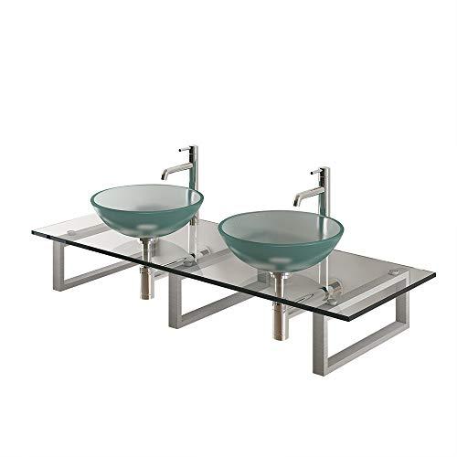 Alpenberger Design dubbele wastafel Ø 42 cm van veiligheidsglas ESG 12 mm incl. glasplaat 140 cm roestvrijstalen console | Perfecte glazen wasschaal en wastafelplaat van de beste kwaliteit