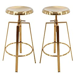 Brage Living 4-Legged Gold Backless Metal Round Seat Adjustable Height Bar Stools with Footrest (Set of 2) (Gold)