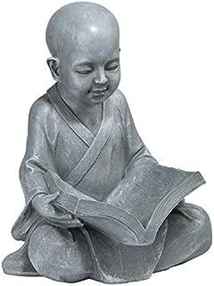 Design Toscano Baby Buddha Studying The Five Precepts Asian Decor Garden Statue, 12 Inch, Greystone