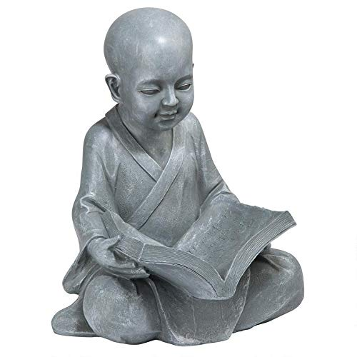Design Toscano - QL4195 Baby Buddha Studying The Five Precepts Asian Decor Garden Statue, 12 Inch, Greystone