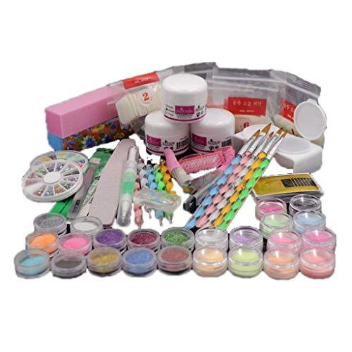 50 Stücke Acryl Nagelset Nail Art Set Starterset Nageldesign Acrylpulver Strasssteine Dekoration Kits Satz Nagellack Künstliche Nägel Werkzeugset