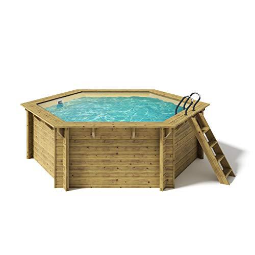 Paradies Pool® Holzpool Lani Komplettset inkl. Filteranlage, Scheinwerfer LED RGB, Folie Sand mit 0,8mm Stärke, Sechseck-Pool, 421 x 118 (Ø x H), Menge: 1 Stück