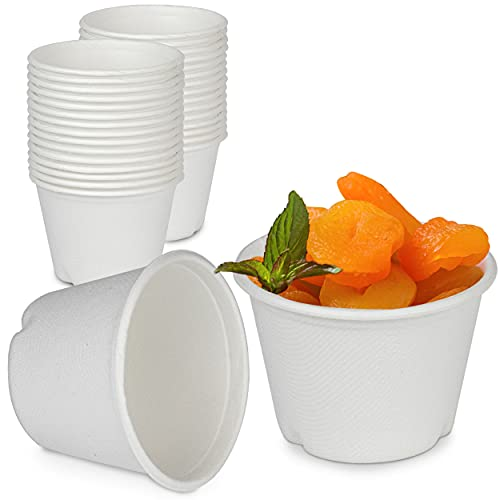 [100 Pack] 4 Oz White Compostable Disposable Cup - 100% Biodegradable...