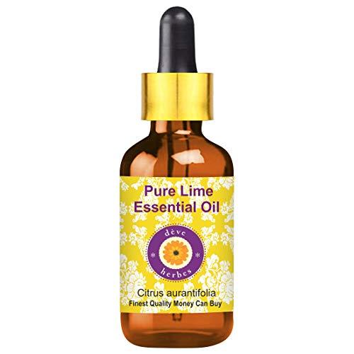 Huile essentielle de lime pure Deve Herbes (Citrus aurantifolia) avec compte-gouttes en verre 100% naturel, qualité thérapeutique 10ml (0,33 oz)