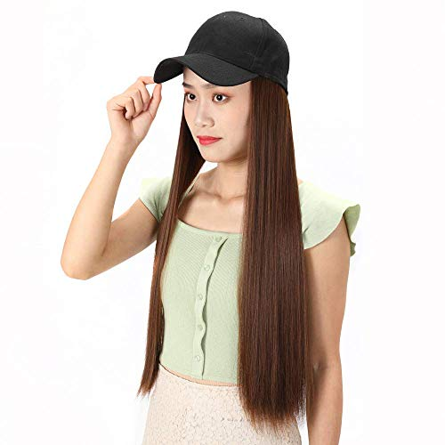 pruiken Hoed pruik een zomer mat zijde lang steil haar pruik pruik baseball cap pruik lang steil haar pruik