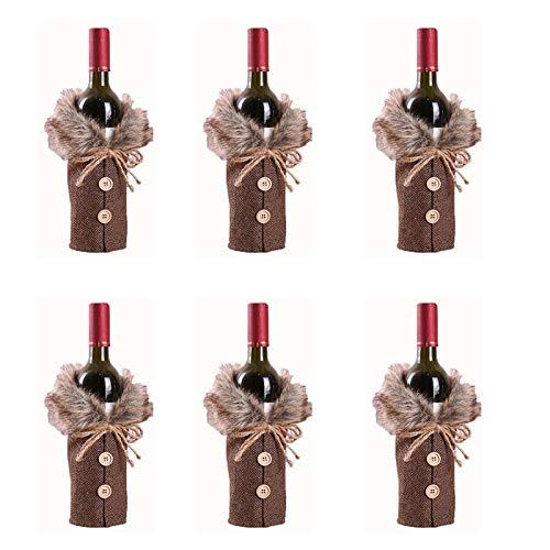 YanYun 6 Piezas Cubierta de Botella de Vino Cubierta de Polvo de Botella de Vino de Navidad Bolsa de Botella de Vino de Navidad Regalo DecoracióN de A?O Nuevo Fiesta de Navidad, Gris