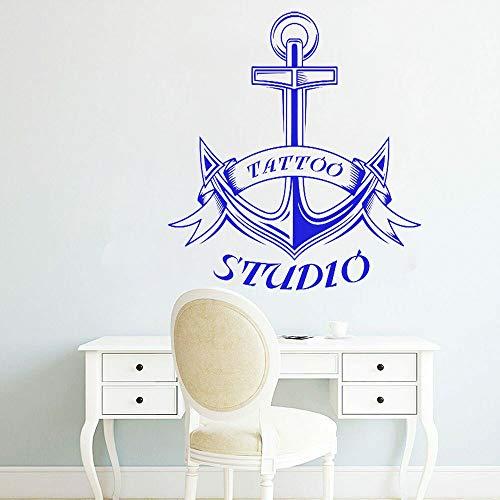 JXMN Estudio de Tatuajes Logo Pegatina de Pared Vinilo Ventana Pared calcomanía Tatuaje salón decoración de habitación Arte náutico Vestido Papel Tapiz 84x76cm