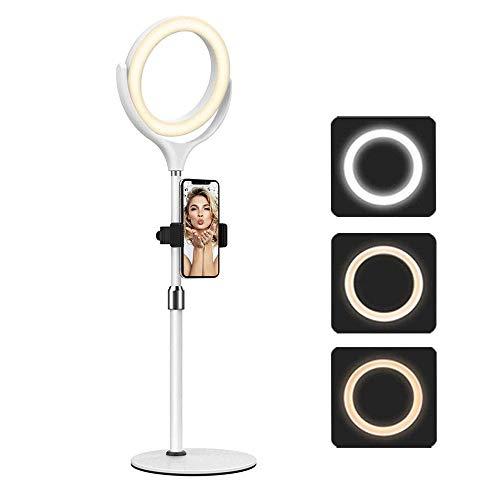 NARUJUBU 8 ringlight Pulgadas LED con el Soporte, 3 Colores Modo de iluminación, Nivel de 10 Brightiness, Relleno de luz Ajustable for transmisión en Vivo, Maquillaje, Youtube y Video
