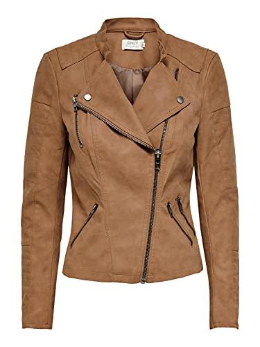 ONLY Damen ONLAVA Faux Leather Biker OTW NOOS Jacke, Toasted Coconut, 40