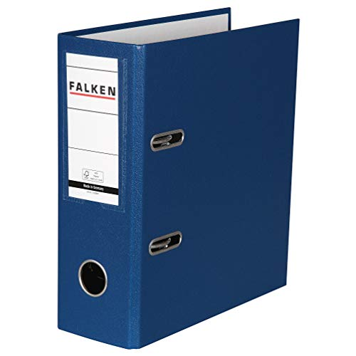 Original Falken PP-Color Kunststoff-Ordner Sonderformat. Made in Germany. 8 cm breit DIN A5 hoch mit Wechselfenster blau Rezepte Ringordner Aktenordner Briefordner Büroordner Plastikordner