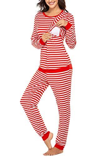 MAXMODA Damen Stillpyjama Sommer Umstandspyjama Set Baumwolle Still-Schlafanzug mit Langarm Shirt und Lang Hose, Ab-ydf3, S