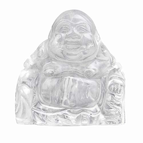 YWG Stone Clear Crystal Healing Crystal Gemstone Carved Laughing Happy Buddha Feng Shui Figurines Wealth and Good Luck 1.5'