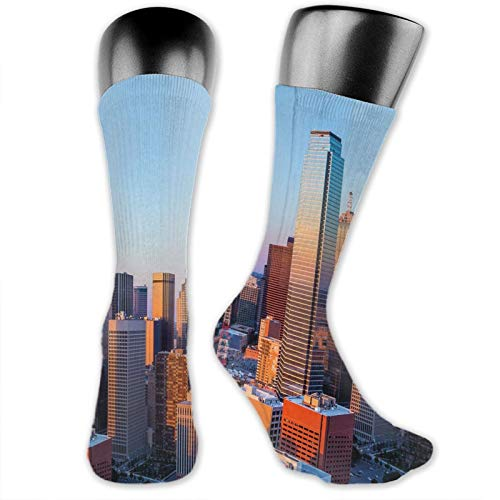 Cool Colorful Fancy Novelty Casual Cotton Socks,Dallas Texas City With Blue Sky At Sunset Metropolitan Finance Urban Center