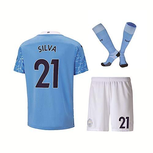GWCUU Fan Soccer T-Shirt, para Agüero 10 Silva 21 de Bruyne 17 Sterling 7 Uniforme de fútbol, 20/21 Equipo Jerseys de fútbol, con Nombre y número, para niños/Adultos 21-24