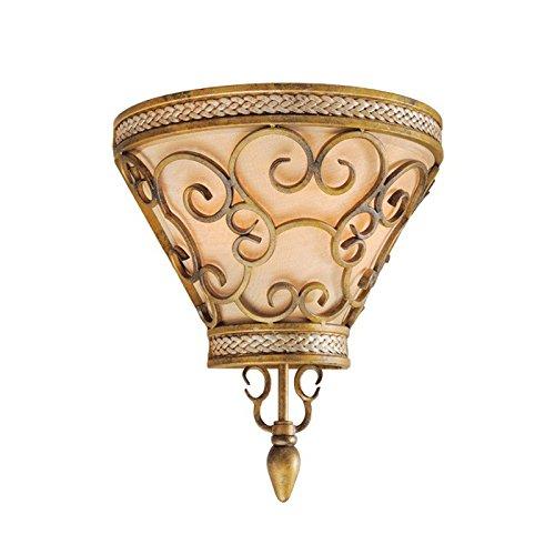 Chiaro 387020402 Applique Mural Style Rustique Armature en Fer Forgé Abat-jour en Tissu couleur Or Déco pour Chambre 2x60W E14