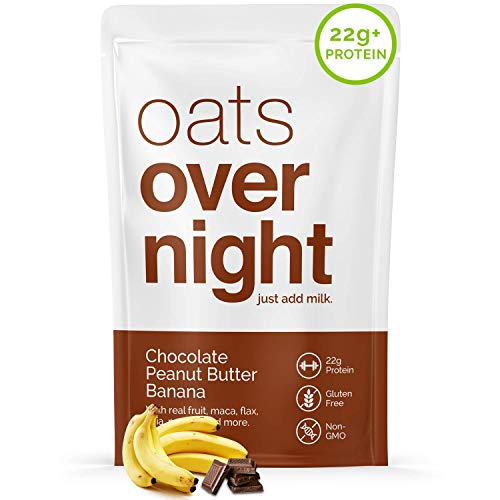 Oats Overnight - Chocolate Peanut Butter Banana (24 Pack) High Protein, Low Sugar Breakfast - Gluten Free, High Fiber, Non GMO Oatmeal (2.7oz per pack)
