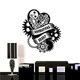 Jsnzff Calcomanía de Vinilo corazón mecánico Steampunk Motor Garaje Arte Etiqueta de la Pared decoración calcomanía extraíble 98x110 cm