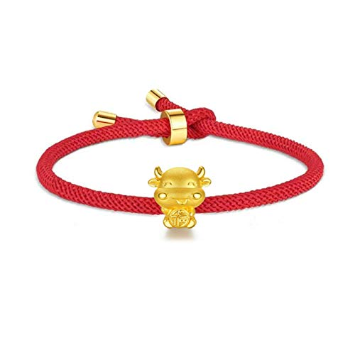 2021 Year of Ox Red String Bracelet Handmade Braid Chinese Zodiac Animal Birth Year Lucky Charm Bracelet High Polish Ox Cow Pendant Link Chain Bangle for Women Men Jewelry-A RED