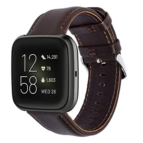 KADES Kompatibel für Fitbit Versa Armband, Echtleder-Armband mit Schnellverschluss-Pin Kompatibel für Fitbit Versa 2 Armband, für Versa Lite Edition Armband Männer Frauen, Kaffee(groß)