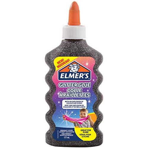 Elmer's colle PVA pailletée | Noir | 177 ml | Lavable | Idéale pour fabriquer du slime | 1 unité