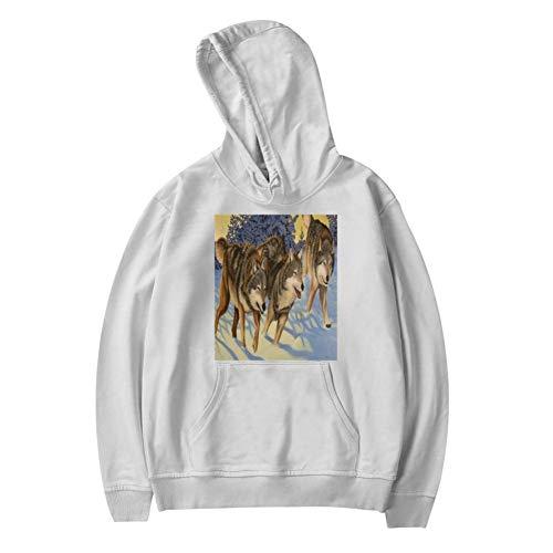 Snow Running Wolf Youth Sweater Sweatshirt White Hooded Unisex