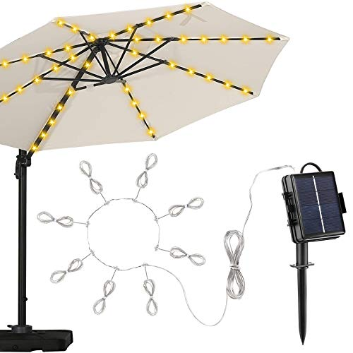 Parasol Lights, TAOPE Umbrella Lights Solar Powered with 104 LED String, 8 Light Modes Waterproof Outdoor Lights with Remote Control for Party Patio Garden Christmas Halloween Decoration - Warm White