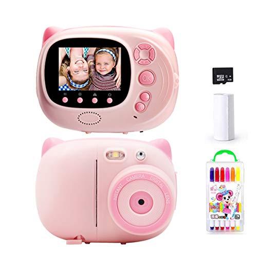 TOYOUSONIC Máquina fotográfica instantánea para niños, niña, cámara 1080P, videocámara digital portátil 3-12 años, LCD de 2 pulgadas, soporte para la impresión de fotos, tarjeta de memoria 32 G (rosa)
