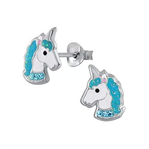 Laimons - Pendientes infantiles de plata de ley 925, diseño de unicornio, color turquesa