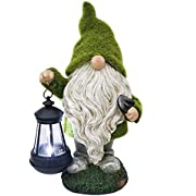 TERESA'S COLLECTIONS Solar Garden Ornaments Outdoor, 33cm Flocked Gnome Figurine with Hanging Solar Lantern Garden Statue, Waterproof Resin for Yard Lawn Decorations and Gift